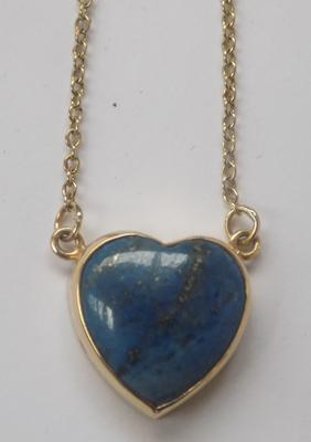 9ct gold chain with love heart 9ct  with blue stone