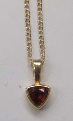 9ct gold chain with ruby pendant