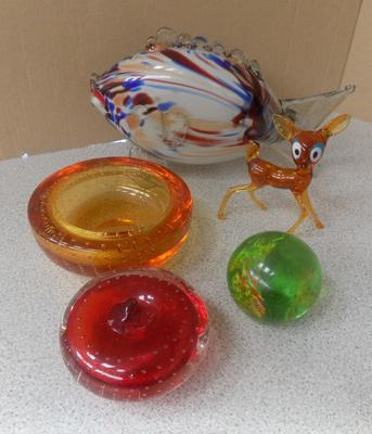 Selection of retro glass items