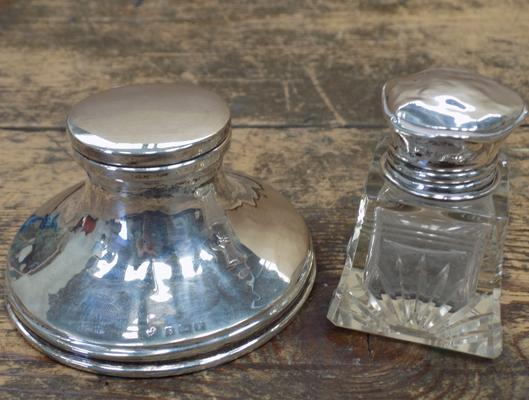 Silver inkwell with silver topped perfume bottle