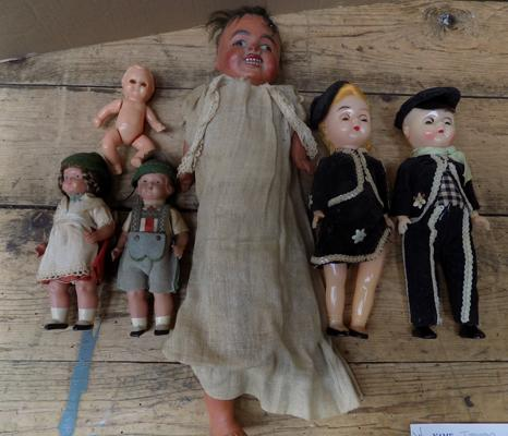 Collection of vintage dolls, incl.clay & straw doll