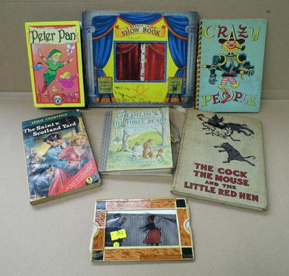 Collection of vintage books (children's) and 1 cartoon animation toy