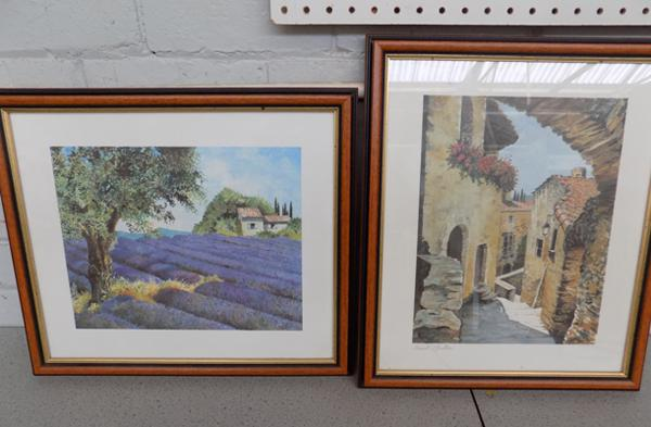 2 framed pictures - French scene