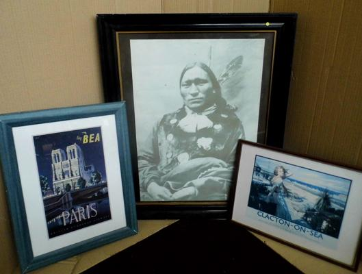 Oscar Long, soldier Indian photo and 2 prints