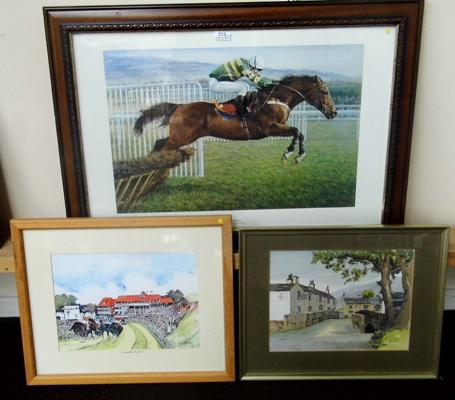 Watercolour of Chester races by S.B Cattermole, print by Sue Crawford - Istabraq champion incl. print of 'The Racehorse Hotel - Kettlewell' by Jane Pearson