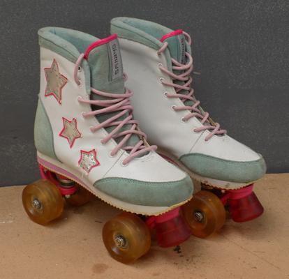 Pair of Shelly's Roller Disco retro roller skates, with light-up wheels, barely worn, size 5