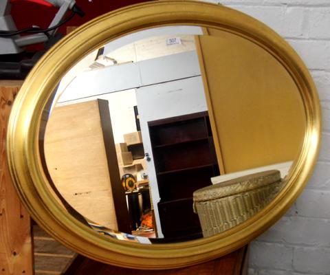 Oval bevel edged mirror