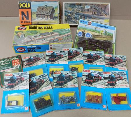 Box of train related models