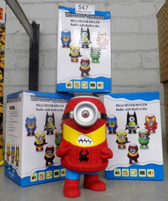 3x Minion/ Marvel Bluetooth speaker with MP3 - micro SD slot and AM/ FM radio