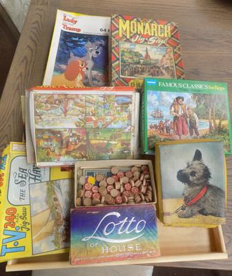Assortment of vintage jigsaws + games; incl. Lady & the Tramp