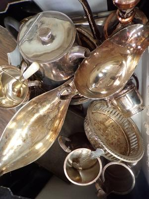 Job lot of silver plate, incl. silver cutlery