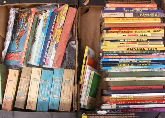 2 boxes of vintage books