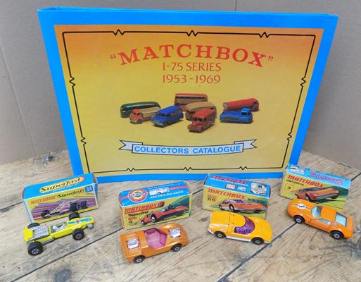 4 boxed matchbox Lesney Superfast cars and rare 1953-1969 collectors catalogue