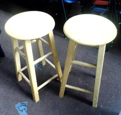 Pair of pine stools + one other