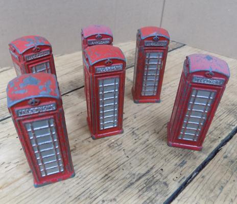 Dinky 1940's early diecast telephone boxes x6