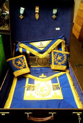 Leather Masonic case with keys and medals/ jewels and kits from west riding Otley