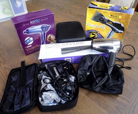 Box of hair dryers and straighteners (boxed) and shaving sets
