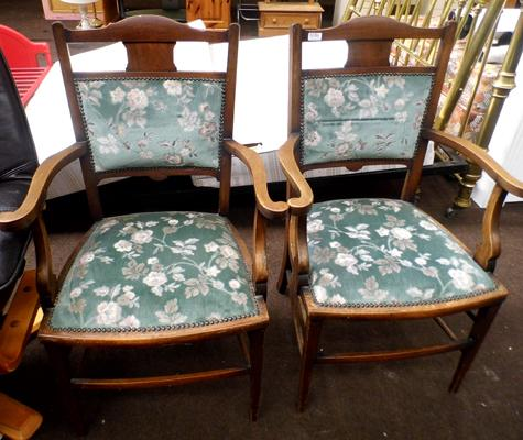 Pair of upholstered bedroom chairs