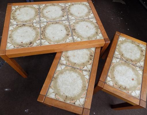 Set of tile topped tables