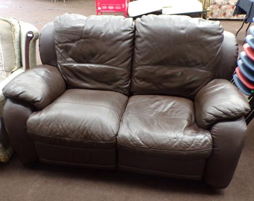 Brown leather, 2 seater, reclining sofa