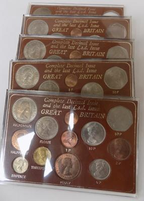 5 x last £.s.d. issue, Great Britain sets, three complete