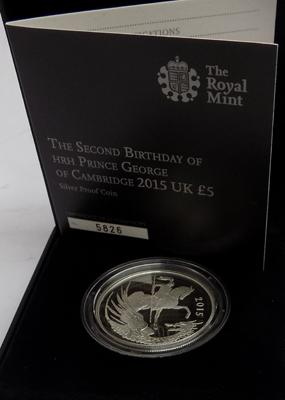 The Second Birthday of HRH Prince George of Cambridge 2015 UK £5 silver proof coin Ltd