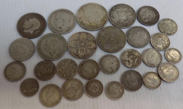 Collection of mixed British coins, mixed denominations & dates, incl. silver