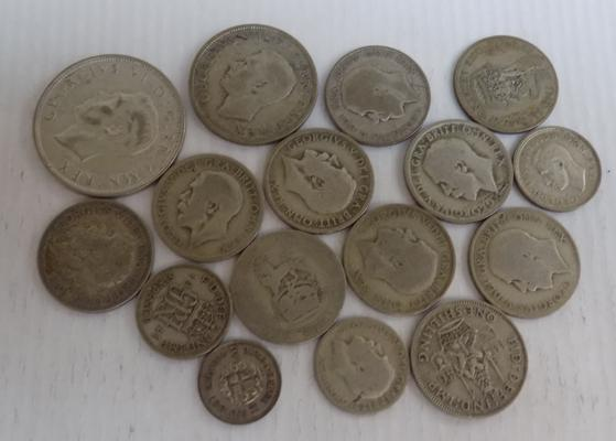 Collection of mixed 50% silver British coins, various denominations