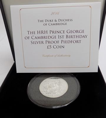 HRH Prince George of Cambridge 1st Birthday silver proof piedfort £5 coin