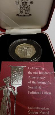 Celebrating 100th Anniversary of the Women's Social & Political Union 50p silver proof coin
