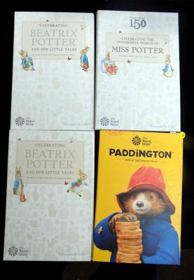 Full set of Beatrix Potter 50 pence pieces & Paddington 50p in Royal Mail holders