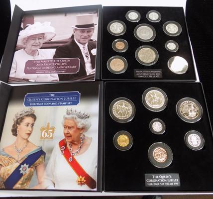 Her Majesty's Platinum Wedding Anniversary & The Queen's Coronation Jubilee coins & stamp sets
