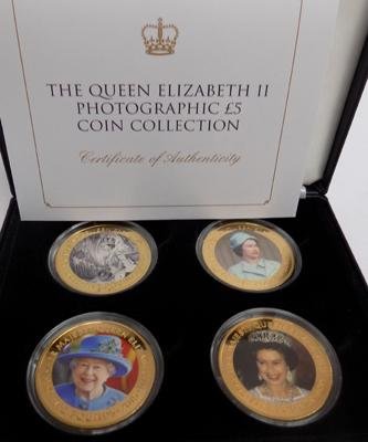 Queen Elizabeth II photographic £5 coin collection gold plated copper