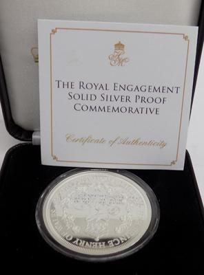 Royal Engagement solid silver proof commemorative coin