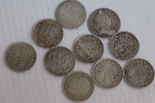 Collection of antique silver three pence pieces, incl. George III, 1763