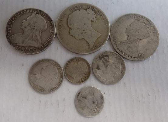 Collection of silver Victorian coins, mixed dates & denominations