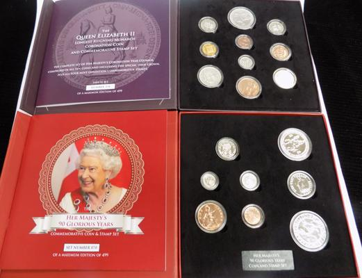 Her Majesty's 90 Glorious years & longest reigning monarch coin & stamp sets