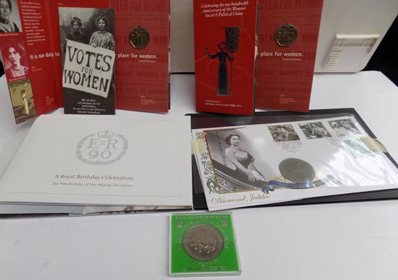 Royal Mint first day cover & 2x 50p coins Women's Anniversary & Political Union & Lady Diana Coin
