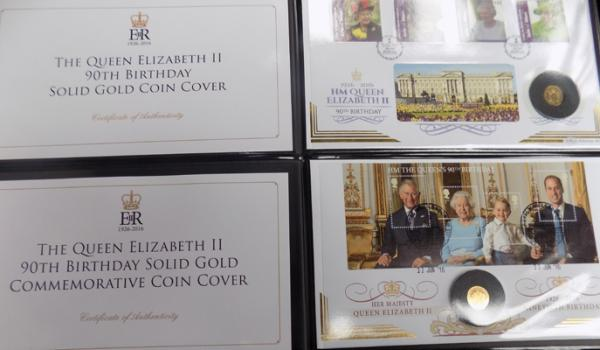 2x Queen Elizabeth II solid gold coin presentation covers