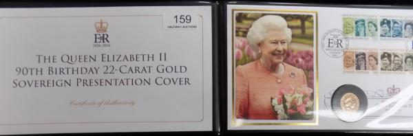 Queen Elizabeth II 90th Birthday 22ct gold sovereign presentation cover. Edition limit 299 coin dated 2016