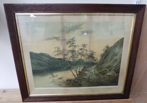 Victorian picture 'Sunset-Graig Angus' in original oak frame