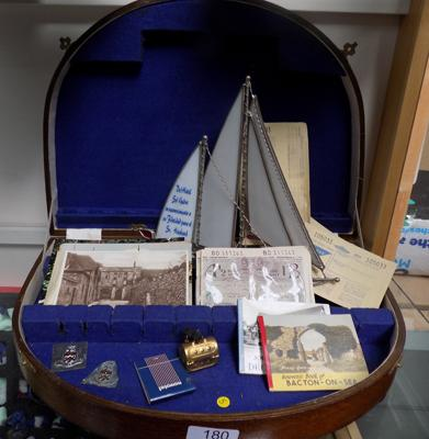 Assortment of collectables in case, incl. ephemera etc...