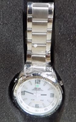 New Weide watch, white face, stainless strap