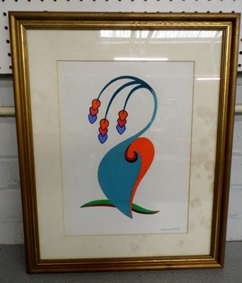 Framed watercolour, signed by RSA artist Wadsworth-Smith, 'Lavender Blue' 19x15 inches