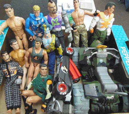Box of Action man figures & vehicles