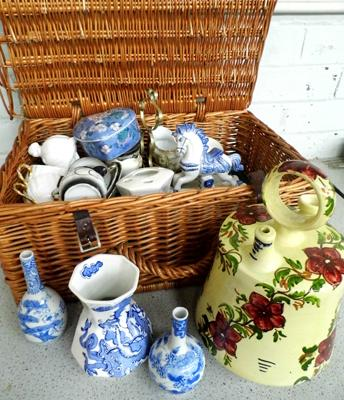 Wicker picnic basket with ceramic collectables inc Aynsley, Masons, Spode