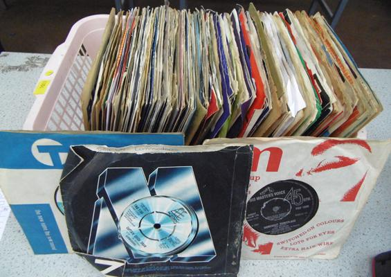 Box of 7 inch singles, some collectable