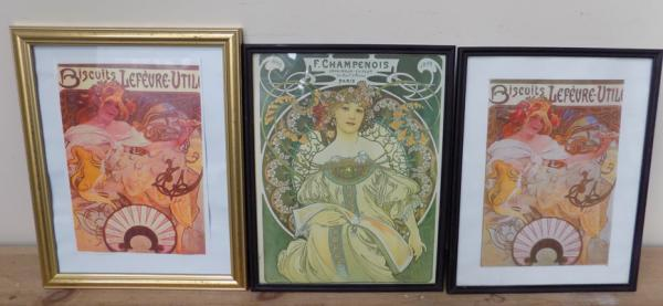3 framed advertising prints, French
