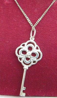 Solid silver key necklace