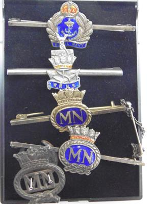 5x Silver & enamel Navy, Merchant Navy & WRNS sweetheart brooches